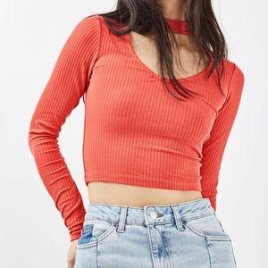 Topshop Red Long Sleeve Choker Collar Top